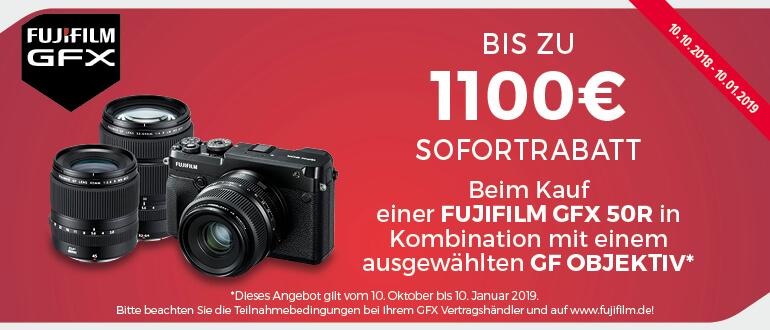 Fujifilm Winter-Sofortrabatt-Aktion beim Kauf einer Fuji GFX 50R in Kombination mit einem ausgewählten GF Objektiv