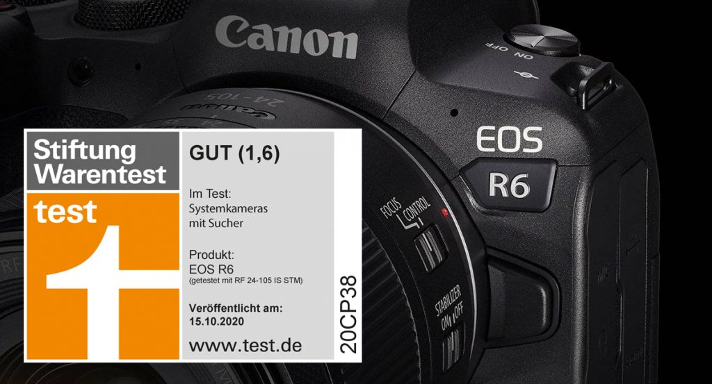 (Die Stiftung Warentest hat in der Ausgabe Oktober 2020 die EOS R6 in Verbindung mit dem Objektiv RF 24-105 F4-7.1 IS STM mit der Note 1,6 bewertet.)