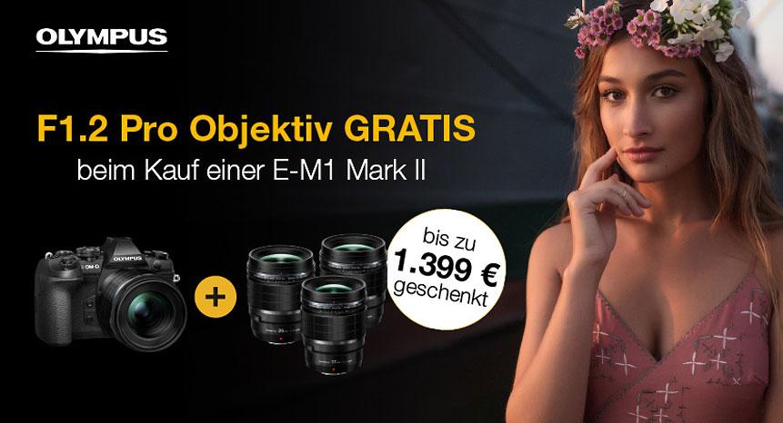 (Beim Kauf einer OM-D EM1II kostenlos ein F1.2 PRO Objektiv erhalten!)