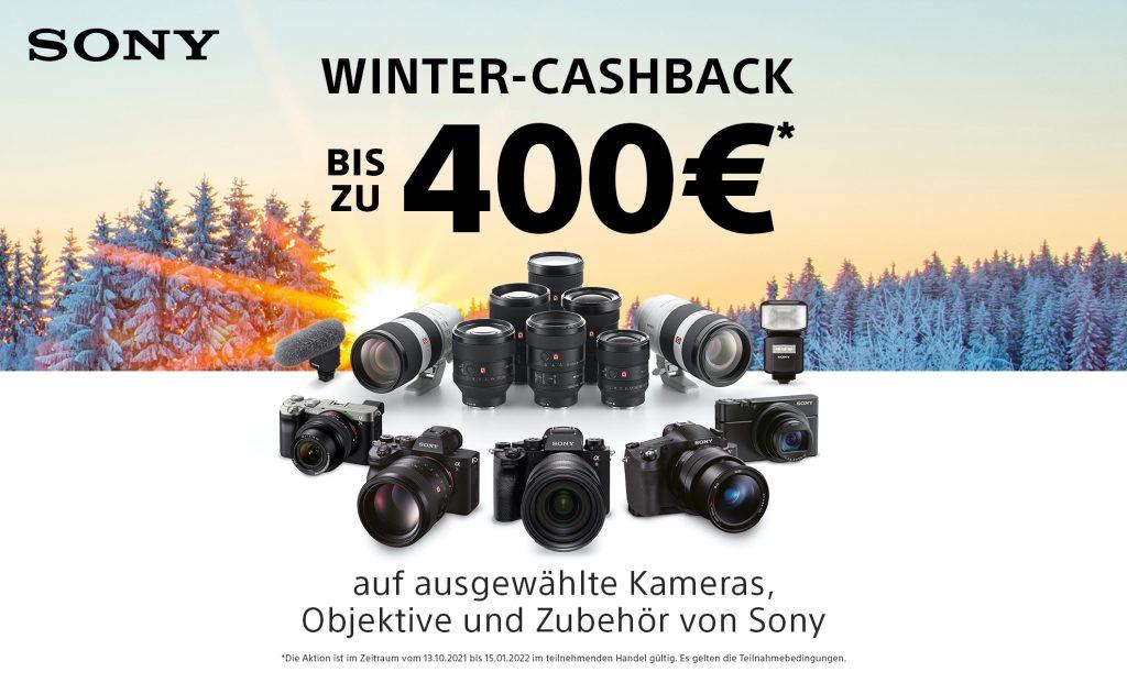 Bis zu EUR 400,– Sony Winter-Cashback auf ausgewählte Kameras, Objektive und Zubehör von Sony.